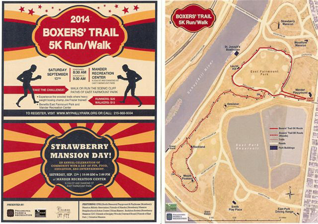 Image of the postcard for the 2014 boxer trail 5K run / walk and Strawberry Mansion Day.