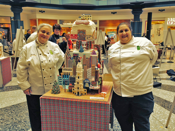 Chefs Julia Quay and Francine Marz. from the Culinary Arts Institute of Montgomery County Community College creators of the Laurel Hill Mansion Gingerbread House