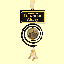 A bell pull with a cartouche with the text Downton Abbey advertising a Downton Abbey inspired cocktail party to be held at the Philadelphia Park house Laurel Hill Mansion to take place on September 20, 2014