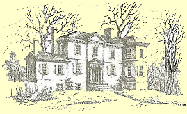 Line drawing of historic Laurel Hill Mansion