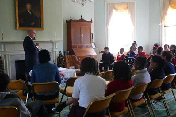 Scott Griffiths from Rawle and Henderson Law Firm addresses student participants during the 2014 Constitution symposium at Laurel Hill Mansion, a program of Woman For Greater Philadelphia.