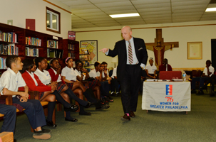 Scott Griffiths a lawyer from Rawle and Henderson Law Firm addresses student participants during the 2015 Constitution symposium at Holly Cross, a program of Woman For Greater Philadelphia.