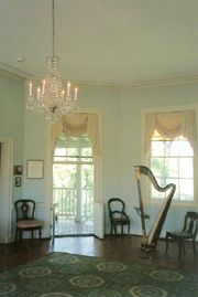 Photograph of the octagonal music room at Laurel Hill Mansion where the concerts by candle light are held