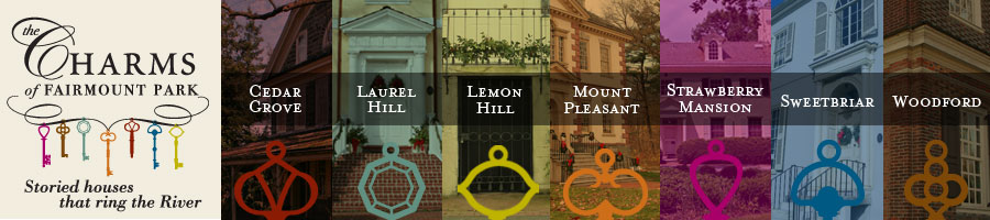 Each historic house in Philadelphia's Fairmount Park is represented by a charm.