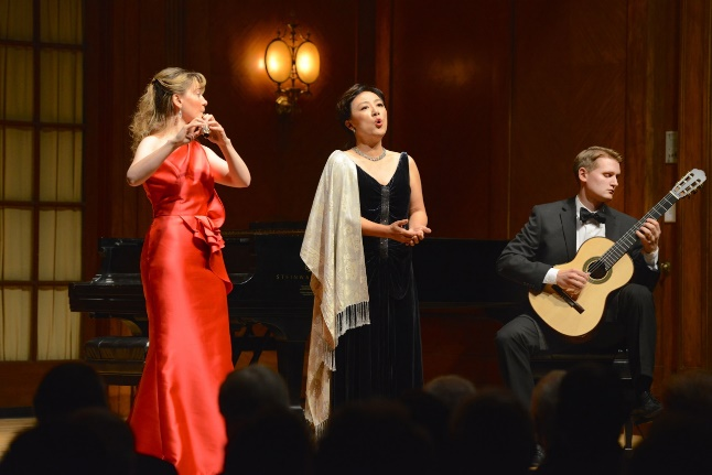 Photograph of The Dolce Suono Ensemble, Mimi Stillman-flute, Misoon Ghim-mezzo soprano, Gideon Whitehead-guitar performing.  The aclaimed ensemble will play at the historic Philadelphia Park house Laurel Hill Mansion on July 12, 2015