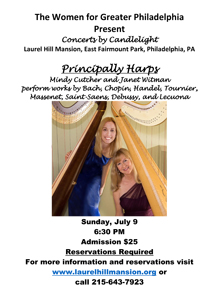 Thumb nail of the poster for the July 9th 2017 Principally Harps concert at Laurel Hill Mansion, a historic house in Philadelphia's Fairmount Park.