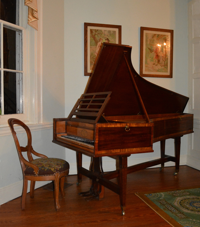 Photograph of the piono forte in the music room at Laurel Hill Mansion where concerts are held.